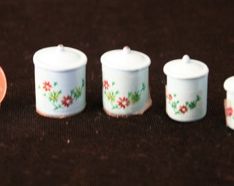 Set of Miniature Light Blue Metal Canisters