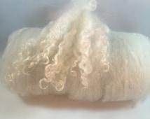"Wool Batt - ""So Sheepy"" #194 Merino, Romney, White English Cashmere, Corriedale, Wool Nepps, Silk Noil and Teeswater Locks"