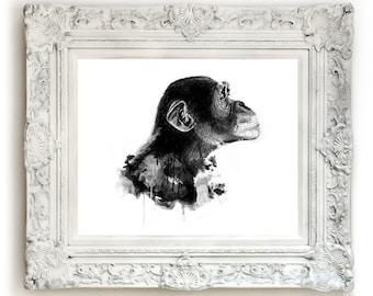 Monkey Illustration Print, Giclee Print, Animal Wall Art, Black and White Print, Animal Illustration.