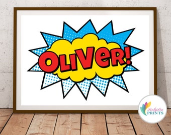 Personalised Super Hero Name Print - Landscape