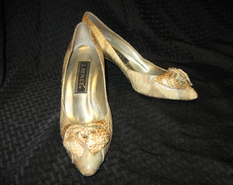 Vintage J. Renee Snakeskin Shoes w/Bow