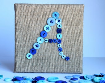 "6X6 ""A"" Button Monogram, Burlap and Buttons Wall Art, Custom Wall Canvas"