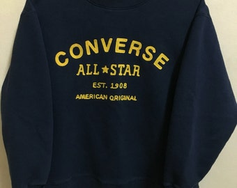 Vintage 90's Converse All Star Chuck Taylor 1908 Dark Blue Classic Design Skate Sweat Shirt Sweater Varsity Jacket Size M #A265