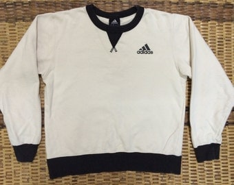 Vintage 90's Adidas White Black 3 Stripes Sport Classic Design Skate Sweat Shirt Sweater Varsity Jacket Size S #A414