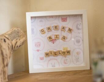 Cute baby girl shadow box frame gift