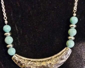 Turquoise Necklace - vintage etched silver plated Navajo style jewelry