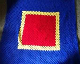 Crocheted KU Jayhawk throw afghan
