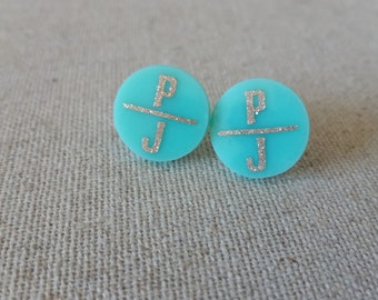 Double Initial Round Acrylic Monogram Earrings