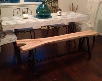 custom iron and oak bench