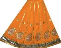 Vintage Lehenga Art Silk Orange Long Skirt Gota Patti Wedding Bridal Fashion L633