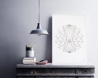 Geometrical abstract 1 poster - Customizable - gilding - color-decoration - living room - bedroom