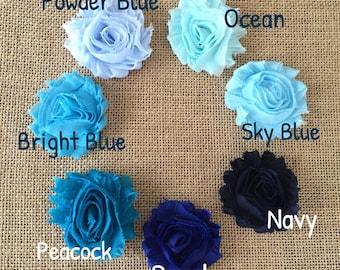 Blue shabby flower hair clips, Blue Shabby Flower Headbands, Navy hair clips or headbands, royal blue, powder blue, sky blue, skinny elastic