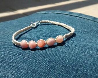Macrame bracelet with Rose Quartz. Love bracelet.