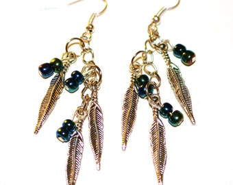 Feather and Bead Drop Earrings