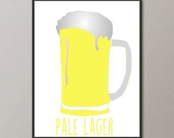 Pale Lager Art, Beer Print, Beer Poster, Beer Art, Kitchen Decor, Kitchen Art, Kitchen Poster, Digital Beer Print, Art for Bar, Pub Poster