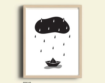 Nursery art kids room art print printable nursery poster scandinavian wall art monochrome black and white print rain cloud rain drops boat