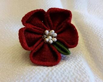 Red hair flower, kanzashi pearl hair clip, handmade chirimen