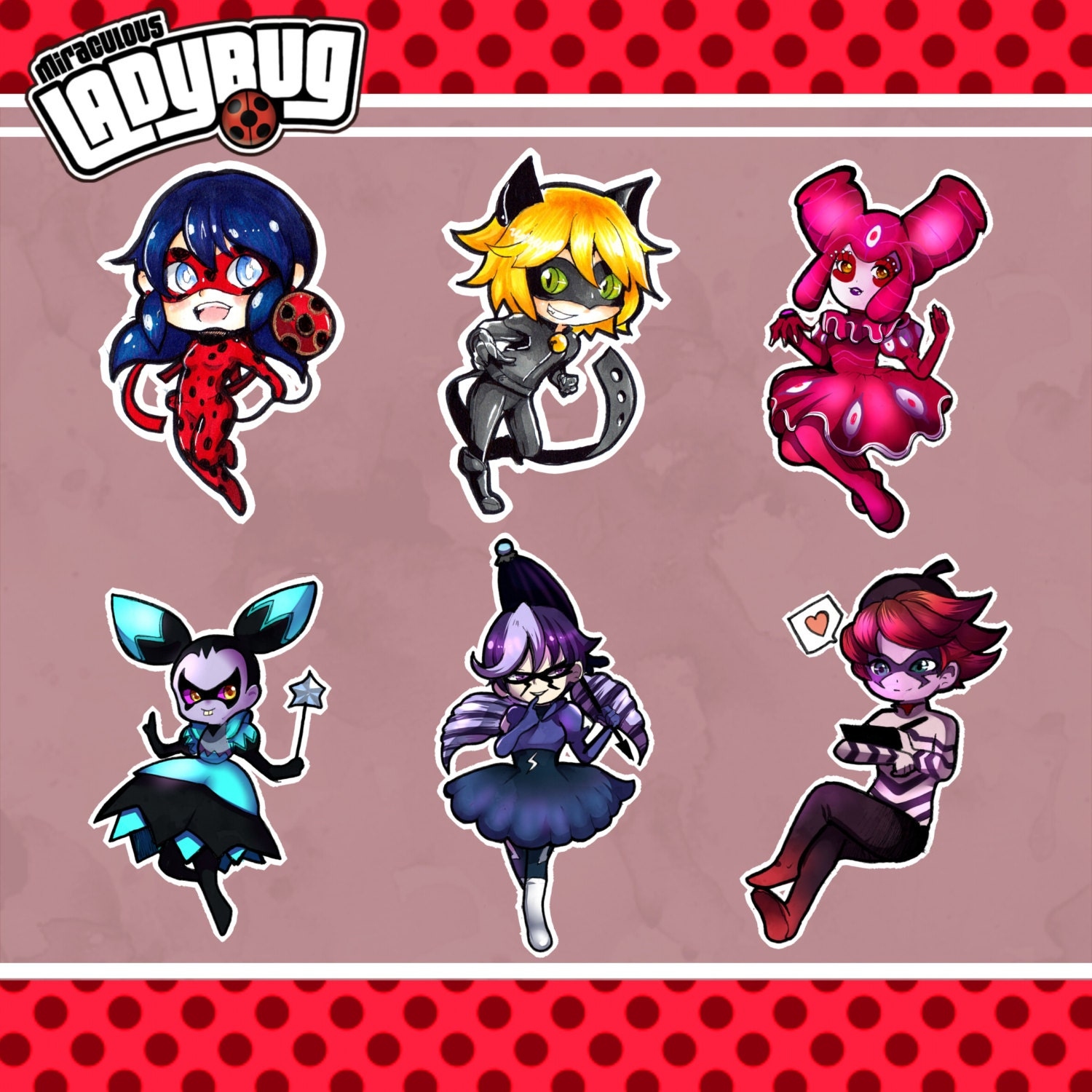 Miraculous ladybug stikers set for Disegni da colorare lady bug