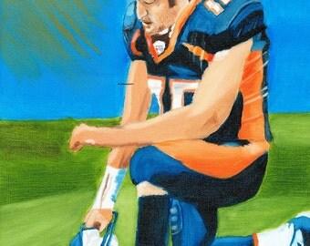 Tim Tebow Denver Broncos 8x10 Oil Painting Print - Christian Art - Christian Gifts