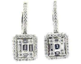 1.20 Ct White Gold Diamond Emerald Cut Fashion Hanging Women's Earrings 18 KT