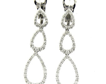 2.35 Ct White Gold Diamond Tear Drop Women's Hanging Earrings 18 KT