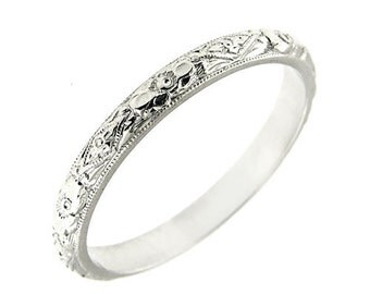 Platinum Antique Women's 1930S 2.5 MM Wedding Band Ring
