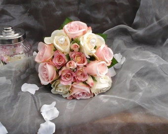 wedding silk pink bouquet pink roses rosebuds pale  pink ivory silk bride bouquet posy pink bouquet vintage bouquet heart pearl brooches