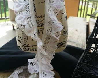 1 inch white and very light purple lace trim