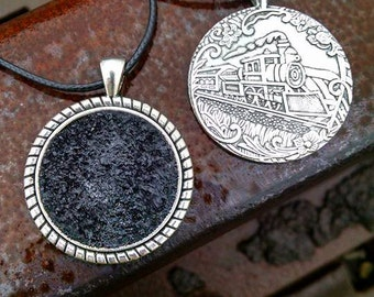 Coal, Coal Jewelry, Coal Necklace, Coal necklace made with coal mined in Erbacon WV. Front is Coal filled, Back is a CoalTrain