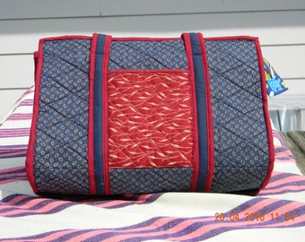 Red & Blue Quilted Tote bag