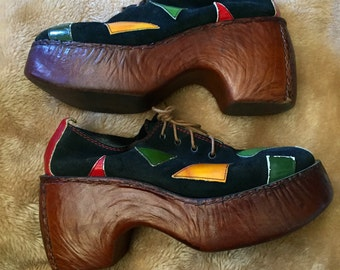 RARE 1970s Glam Platforms Lujano Made in Italy