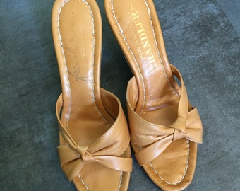 1950s Tan Leather Cork Heels Sz 5
