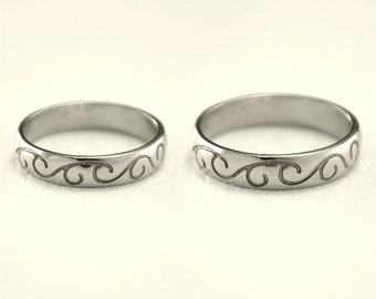 Matching silver bands, Silver wedding rings, Pattern wedding bands, Silver bands his and hers, Unique silver wedding bands, Couple rings