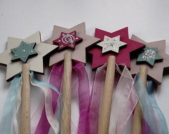 Magic wand, wood wand, pretty wand, princess wand, natural and painted wood magic wand for princesses