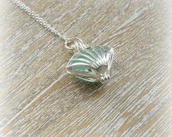 Aqua Sea Glass Shell Locket Necklace Sterling Silver Chain