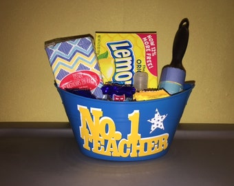 No. 1 Teacher Small Plastic Tub/Basket - Customized Plastic Tub/Basket