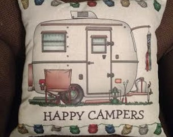18 inch Cotton Linen Happy Camper Pillow Stuffed