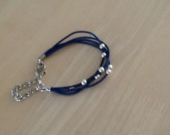 Leather Cord with silver beads Bracelet..