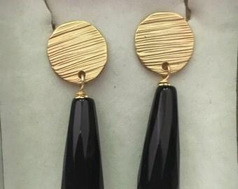 Brass and Onyx earrings