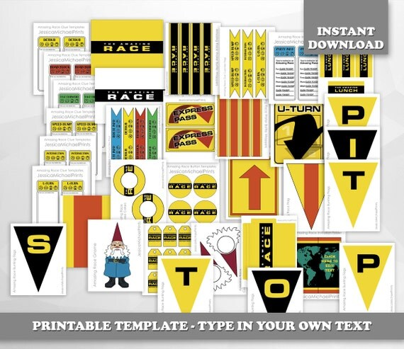 the amazing race clue template - limited time the amazing race party printables digital