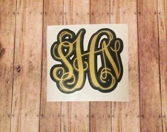 Layered Monogram Decal - Two color monogram decal - initials sticker - Monogram Sticker - Monogram decal -