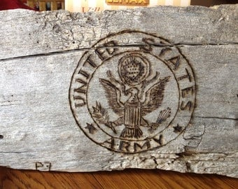 Military Pride Wood Burning Art