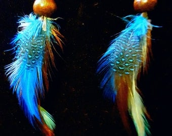 Handmade Blue and Brown Feather Earrings