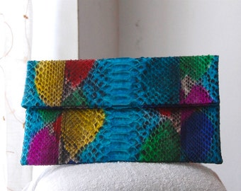 Handmade unique colourful Snake skin flap clutch bag indonesia Balinese