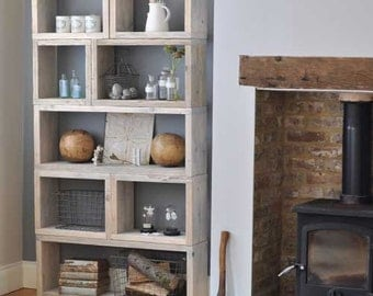Reclaimed distressed wood box shelving unit