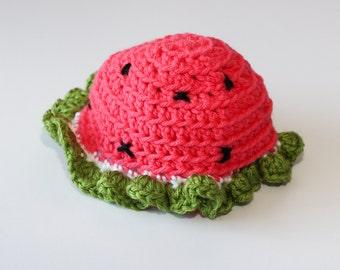 Crochet Watermelon Baby Hat