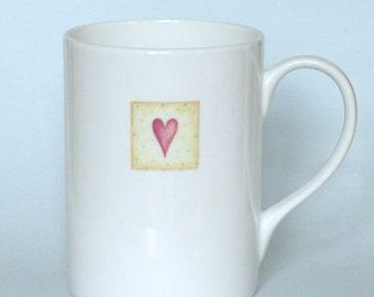 Yellow heart mug. Bone china. Birthday gift. Wedding gift. Anniversary present. Housewarming gift. Present for her. For Mum.Hand decorated.