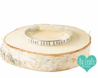 Hand stamped bracelet - Bracelet with text Live Love Laugh - Personalized bracelet - Custom bracelet - Cuff bracelet - Silver color