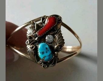 Vintage Designer Signed 12KGF & Sterling Turquoise and Coral Cuff Bracelet