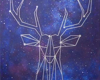 Silver Geometric Deer Head Galaxy Constellation Acrylic Mixed Media Painting on Canvas by Breanna Deis